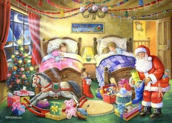 père noël livre les cadeaux aux enfants endormis