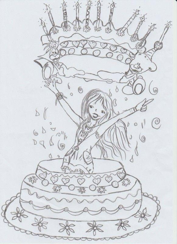 fête ses 11 ans, sort de son gâteau d'anniversaire