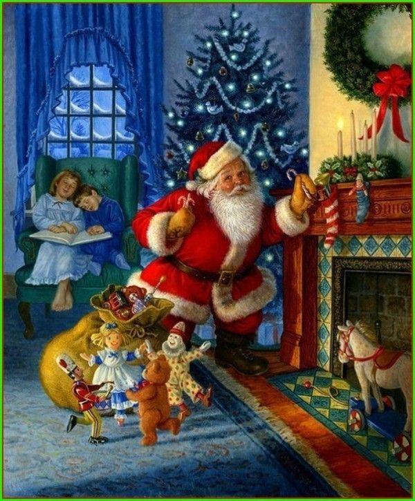 père noel dépose les cadeaux enfants endormis
