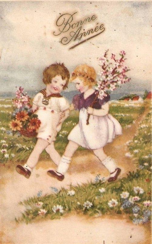 Bonne Annee Carte Ancienne Avec Enfants