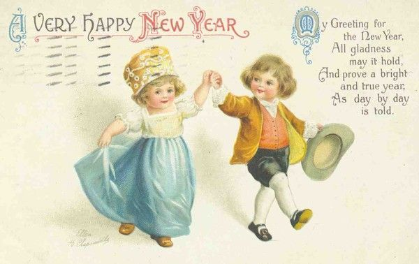 Belle Carte Ancienne Voeux Nouvel An