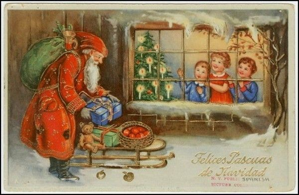 père noël amène des cadeaux aux enfants