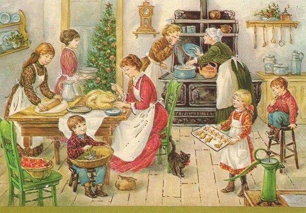 famille prépare repas de noel